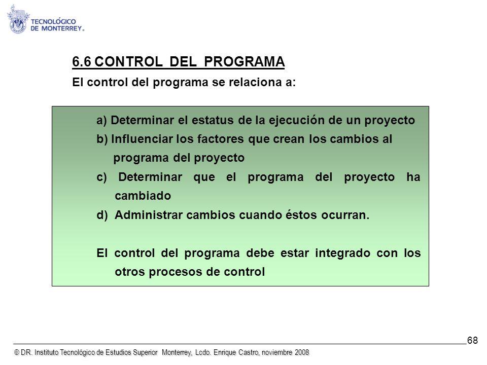 © DR. Instituto Tecnológico de Estudios Superior Monterrey, Lcdo. Enrique Castro, noviembre 2008 68 6.6 CONTROL DEL PROGRAMA El control del programa s