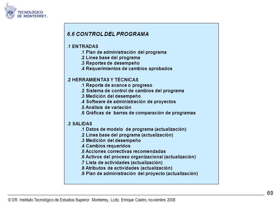 © DR. Instituto Tecnológico de Estudios Superior Monterrey, Lcdo. Enrique Castro, noviembre 2008 69 6.6 CONTROL DEL PROGRAMA.1 ENTRADAS.1 Plan de admi