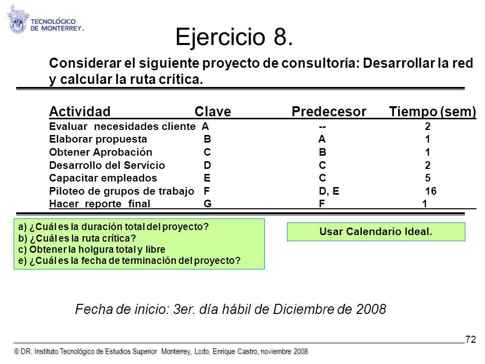 © DR. Instituto Tecnológico de Estudios Superior Monterrey, Lcdo. Enrique Castro, noviembre 2008 72 Considerar el siguiente proyecto de consultoría: D