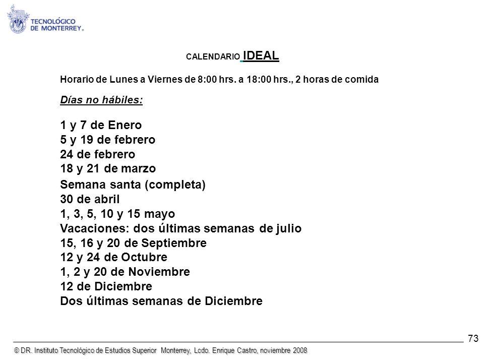 © DR. Instituto Tecnológico de Estudios Superior Monterrey, Lcdo. Enrique Castro, noviembre 2008 73 CALENDARIO IDEAL Horario de Lunes a Viernes de 8:0