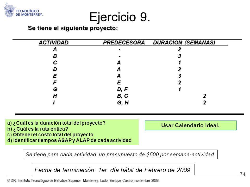 © DR. Instituto Tecnológico de Estudios Superior Monterrey, Lcdo. Enrique Castro, noviembre 2008 74 Ejercicio 9. Se tiene el siguiente proyecto: ACTIV
