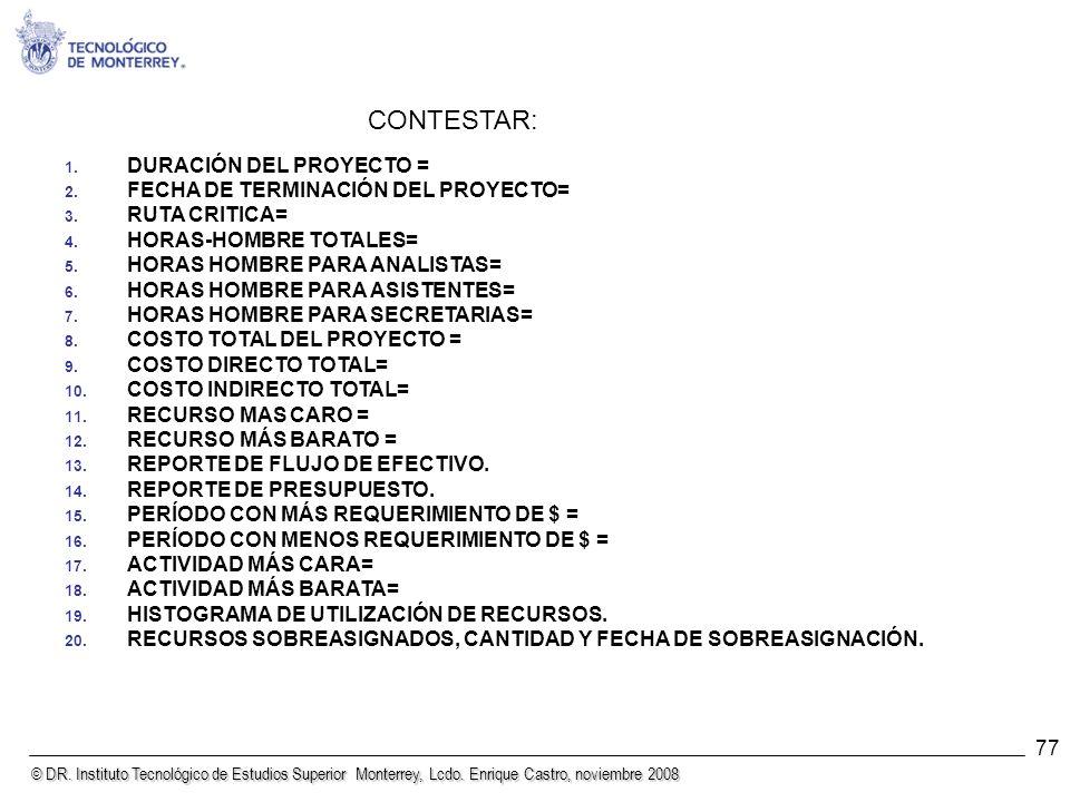 © DR. Instituto Tecnológico de Estudios Superior Monterrey, Lcdo. Enrique Castro, noviembre 2008 77 1. DURACIÓN DEL PROYECTO = 2. FECHA DE TERMINACIÓN