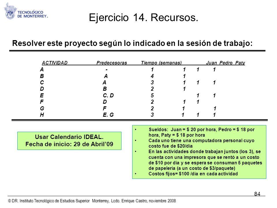 © DR. Instituto Tecnológico de Estudios Superior Monterrey, Lcdo. Enrique Castro, noviembre 2008 84 Ejercicio 14. Recursos. Resolver este proyecto seg