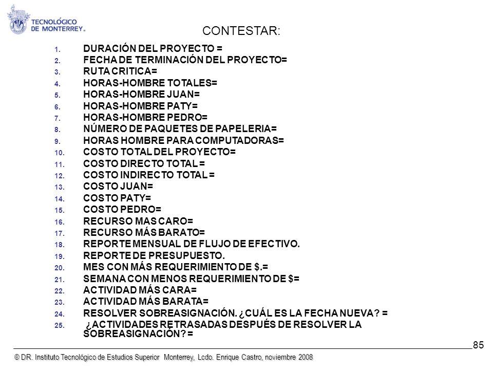 © DR. Instituto Tecnológico de Estudios Superior Monterrey, Lcdo. Enrique Castro, noviembre 2008 85 1. DURACIÓN DEL PROYECTO = 2. FECHA DE TERMINACIÓN