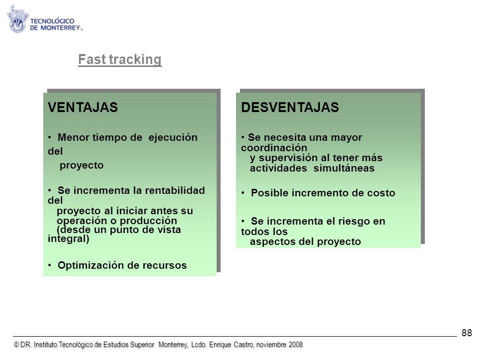 © DR. Instituto Tecnológico de Estudios Superior Monterrey, Lcdo. Enrique Castro, noviembre 2008 88 Fast tracking VENTAJAS Menor tiempo de ejecución d
