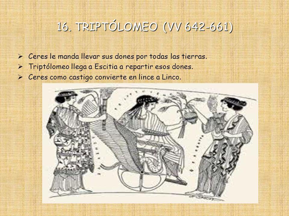 16. TRIPTÓLOMEO (VV 642-661) Ceres le manda llevar sus dones por todas las tierras. Triptólomeo llega a Escitia a repartir esos dones. Ceres como cast