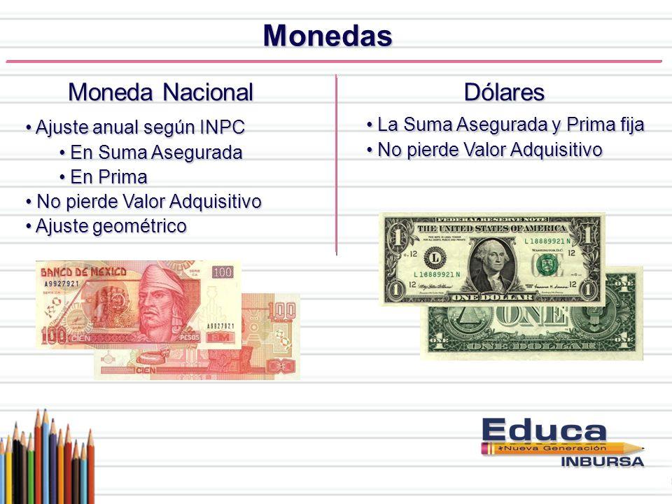 Monedas Moneda Nacional Ajuste anual según INPC Ajuste anual según INPC En Suma Asegurada En Suma Asegurada En Prima En Prima No pierde Valor Adquisit