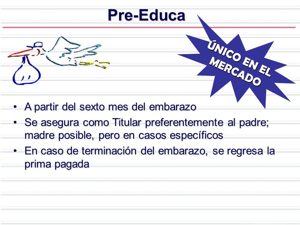 Pre-Educa A partir del sexto mes del embarazoA partir del sexto mes del embarazo Se asegura como Titular preferentemente al padre; madre posible, pero