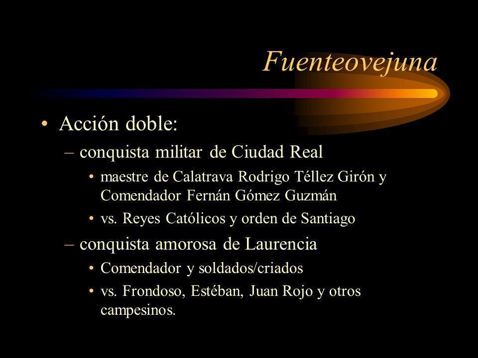 Fuenteovejuna Acción doble: –conquista militar de Ciudad Real maestre de Calatrava Rodrigo Téllez Girón y Comendador Fernán Gómez Guzmán vs. Reyes Cat