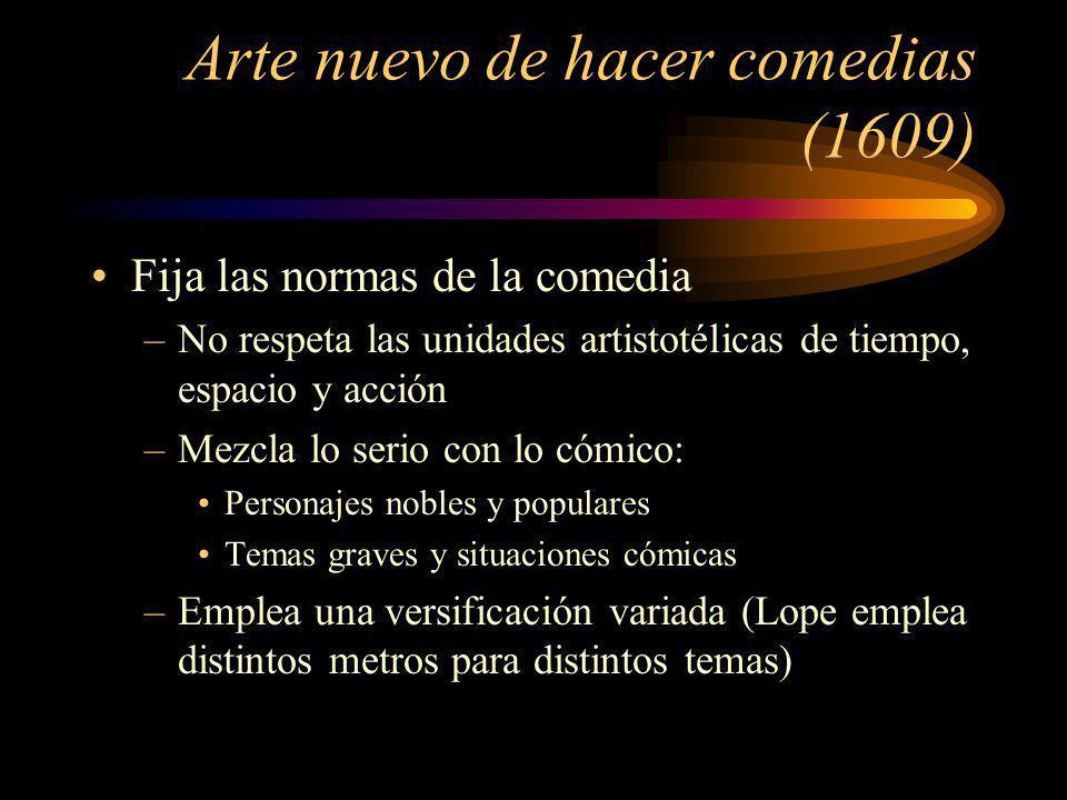Arte nuevo de hacer comedias (1609) Fija las normas de la comedia –No respeta las unidades artistotélicas de tiempo, espacio y acción –Mezcla lo serio