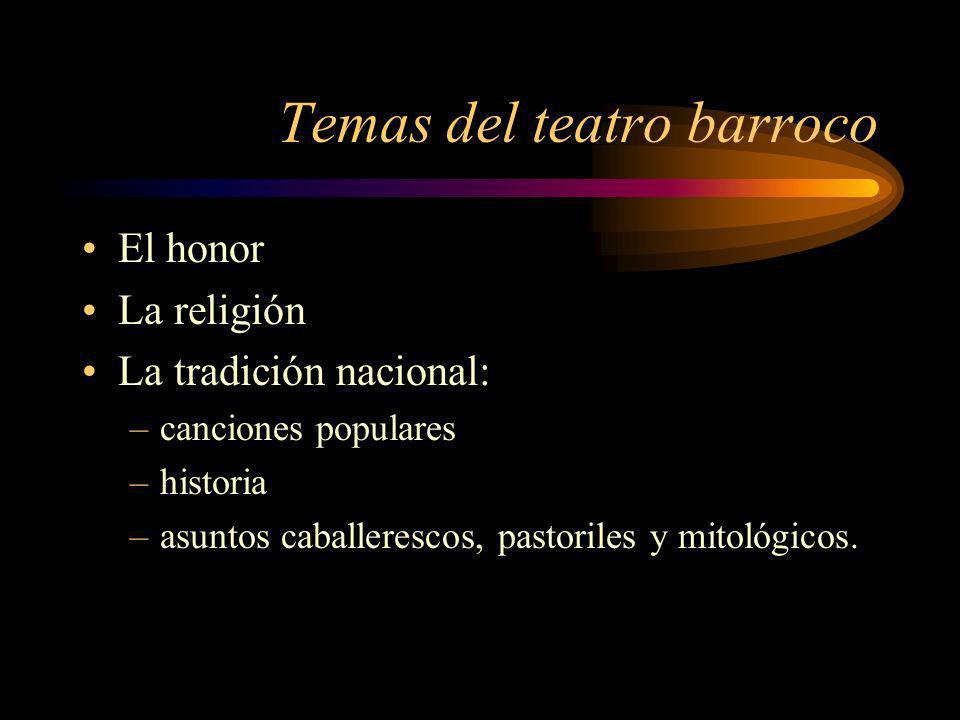Temas del teatro barroco El honor La religión La tradición nacional: –canciones populares –historia –asuntos caballerescos, pastoriles y mitológicos.