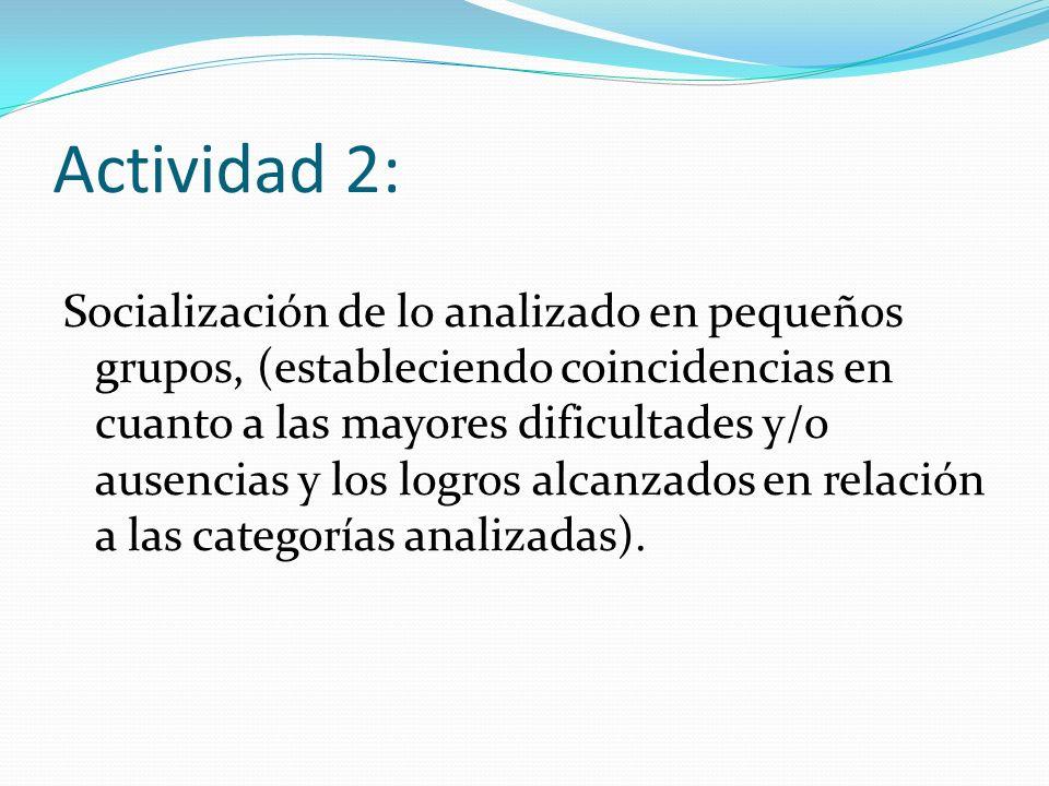 Actividad 2: Socialización de lo analizado en pequeños grupos, (estableciendo coincidencias en cuanto a las mayores dificultades y/o ausencias y los logros alcanzados en relación a las categorías analizadas).