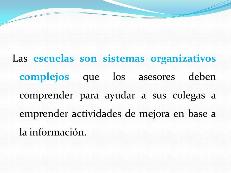 Las escuelas son sistemas organizativos complejos que los asesores deben comprender para ayudar a sus colegas a emprender actividades de mejora en base a la información.