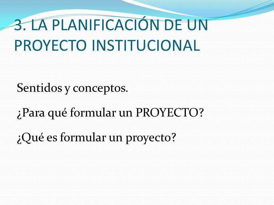 Sentidos y conceptos. ¿Para qué formular un PROYECTO? ¿Qué es formular un proyecto? 3. LA PLANIFICACIÓN DE UN PROYECTO INSTITUCIONAL