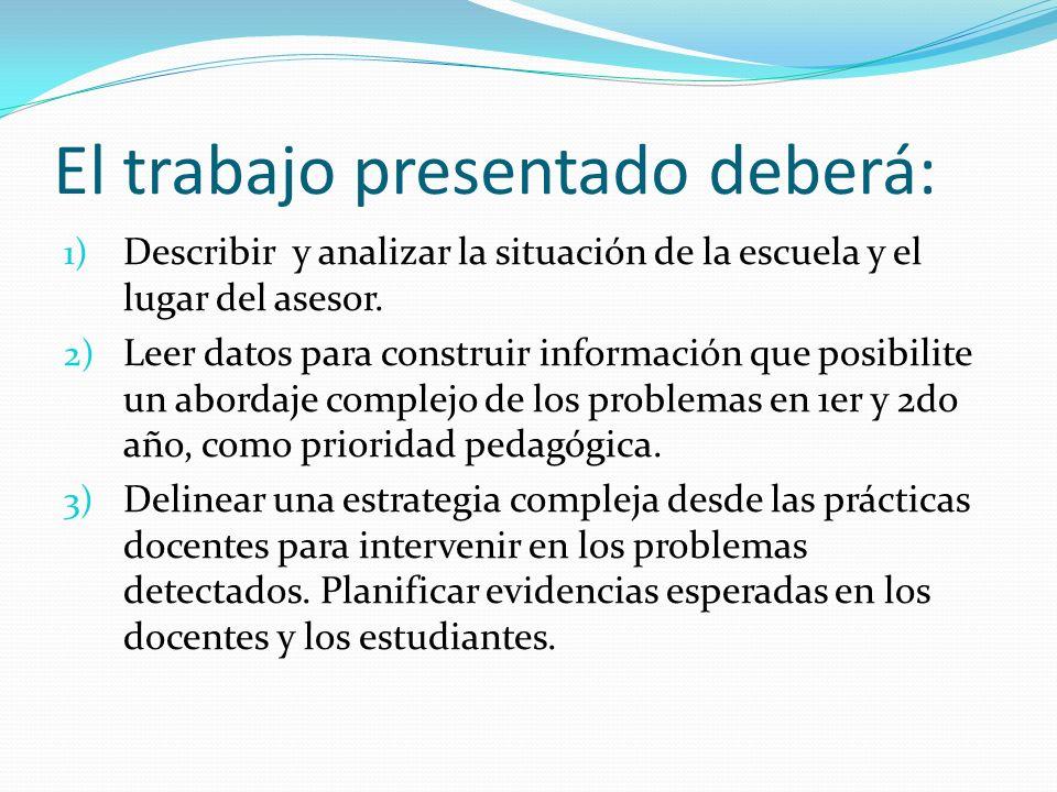 El trabajo presentado deberá: 1) Describir y analizar la situación de la escuela y el lugar del asesor. 2) Leer datos para construir información que p