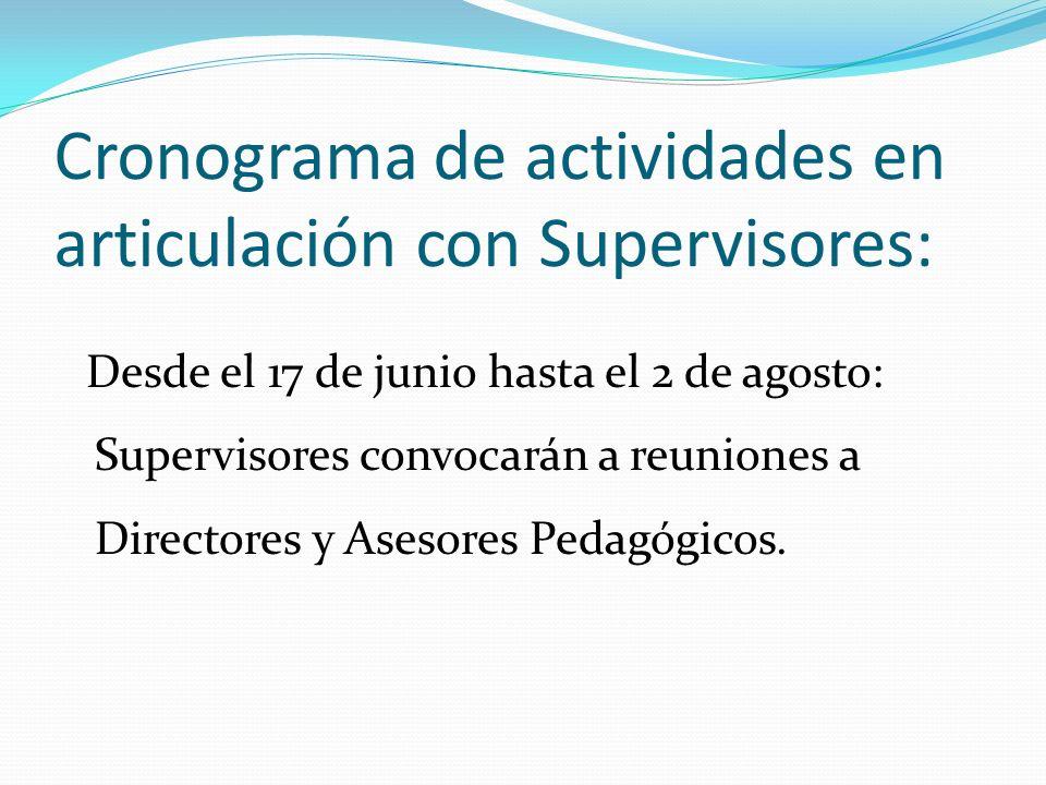 Cronograma de actividades en articulación con Supervisores: Desde el 17 de junio hasta el 2 de agosto: Supervisores convocarán a reuniones a Directores y Asesores Pedagógicos.
