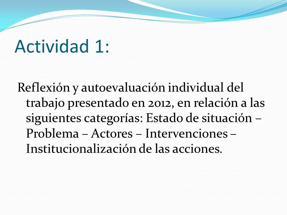 Actividad 1: Reflexión y autoevaluación individual del trabajo presentado en 2012, en relación a las siguientes categorías: Estado de situación – Problema – Actores – Intervenciones – Institucionalización de las acciones.