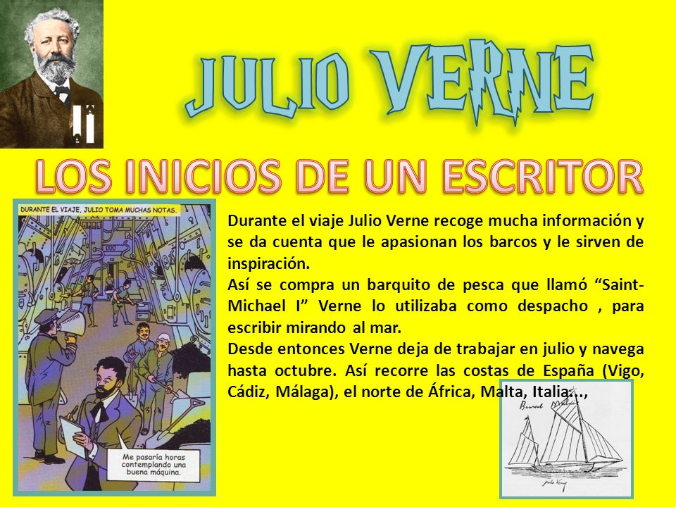 Durante el viaje Julio Verne recoge mucha información y se da cuenta que le apasionan los barcos y le sirven de inspiración. Así se compra un barquito
