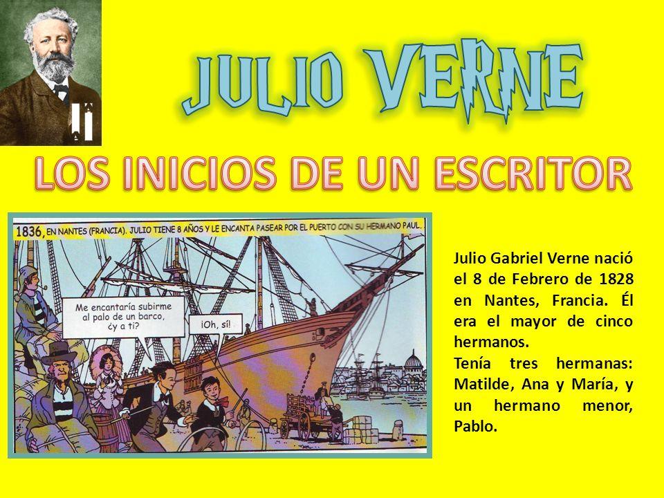 Julio Gabriel Verne nació el 8 de Febrero de 1828 en Nantes, Francia. Él era el mayor de cinco hermanos. Tenía tres hermanas: Matilde, Ana y María, y
