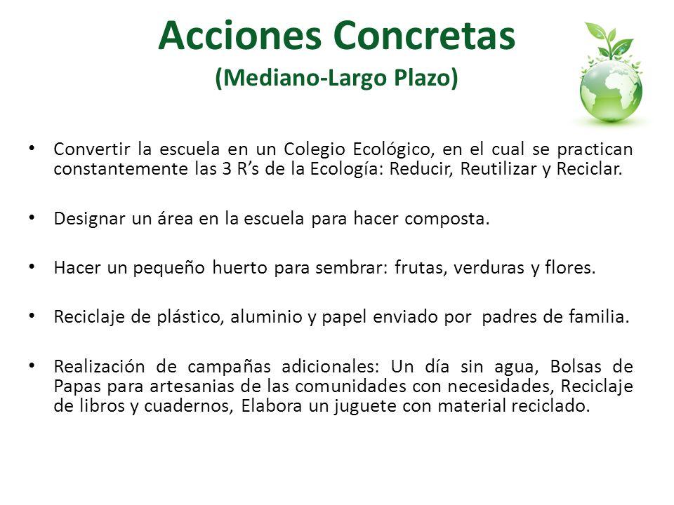 Acciones Concretas (Mediano-Largo Plazo) Convertir la escuela en un Colegio Ecológico, en el cual se practican constantemente las 3 Rs de la Ecología: