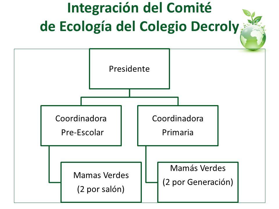 Integración del Comité de Ecología del Colegio Decroly Presidente Coordinadora Pre-Escolar Mamas Verdes (2 por salón) Coordinadora Primaria Mamás Verd