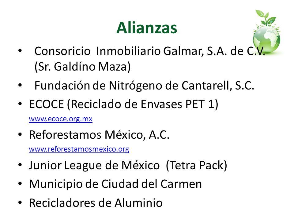 Alianzas Consoricio Inmobiliario Galmar, S.A. de C.V. (Sr. Galdíno Maza) Fundación de Nitrógeno de Cantarell, S.C. ECOCE (Reciclado de Envases PET 1)