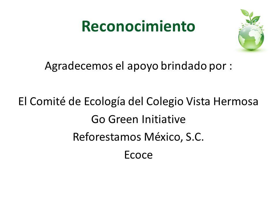 Reconocimiento Agradecemos el apoyo brindado por : El Comité de Ecología del Colegio Vista Hermosa Go Green Initiative Reforestamos México, S.C. Ecoce