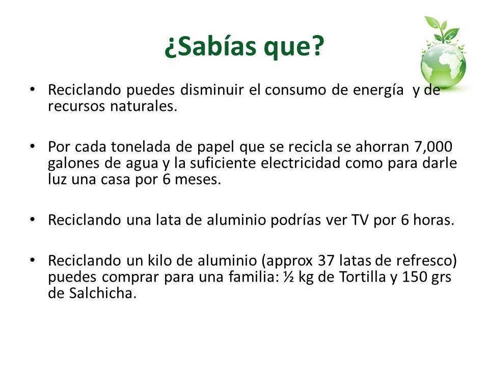 ¿Sabías que? Reciclando puedes disminuir el consumo de energía y de recursos naturales. Por cada tonelada de papel que se recicla se ahorran 7,000 gal