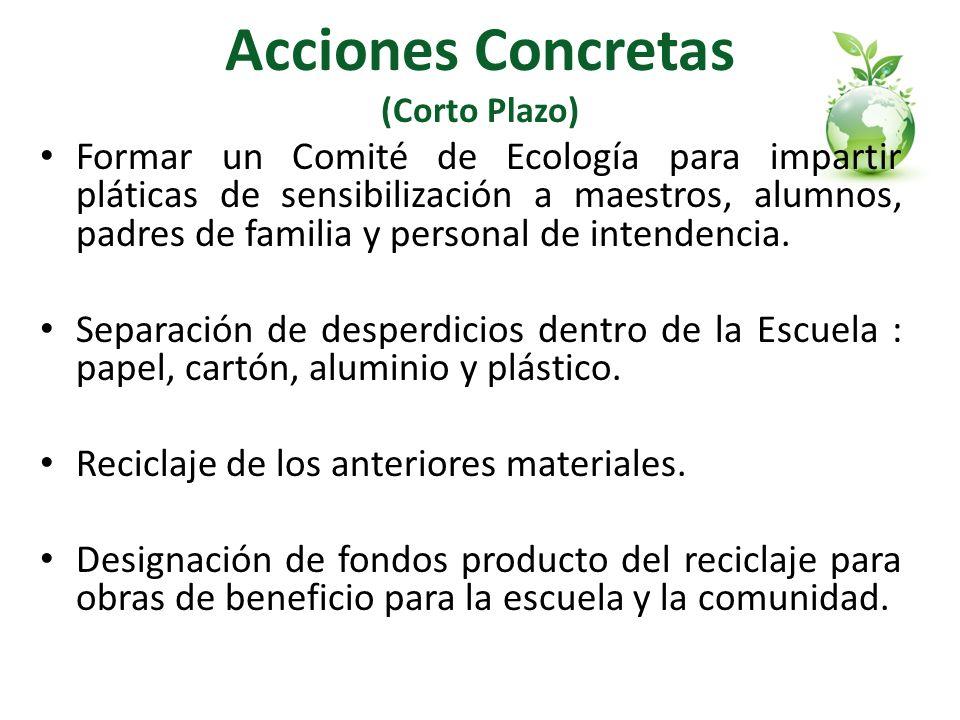 Acciones Concretas (Corto Plazo) Formar un Comité de Ecología para impartir pláticas de sensibilización a maestros, alumnos, padres de familia y perso