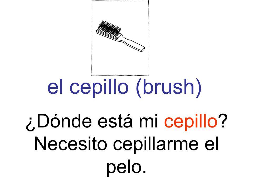 el cepillo (brush) ¿Dónde está mi cepillo? Necesito cepillarme el pelo.