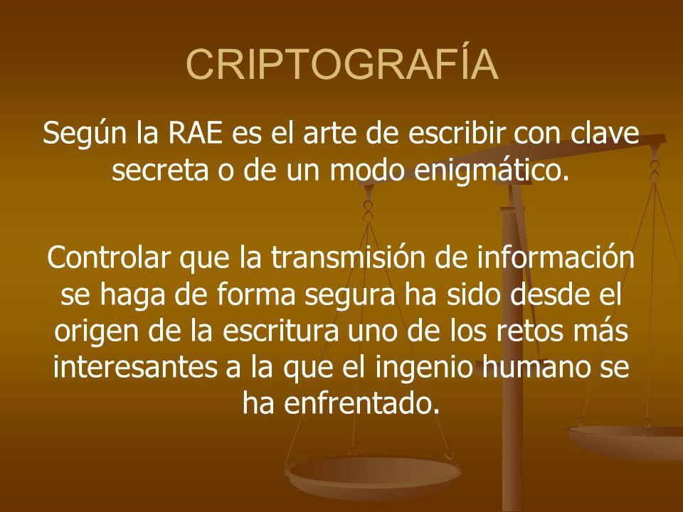 CRIPTOGRAFÍA Según la RAE es el arte de escribir con clave secreta o de un modo enigmático. Controlar que la transmisión de información se haga de for