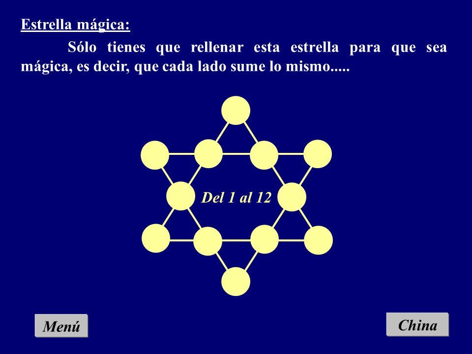 Menú Los aros mágicos: Se trata de colocar en las intersecciones los números del 1 al 6, de forma que la suma en cada circunferencia sea la misma. Chi