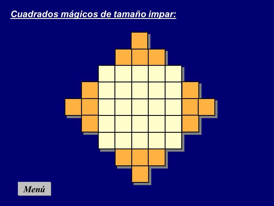 Menú Cuadrado mágico 4 x 4: Coloca en cada casilla del cuadrado una cifra del 1 al 16 sin que haya repeticiones y de modo que en vertical, en horizont