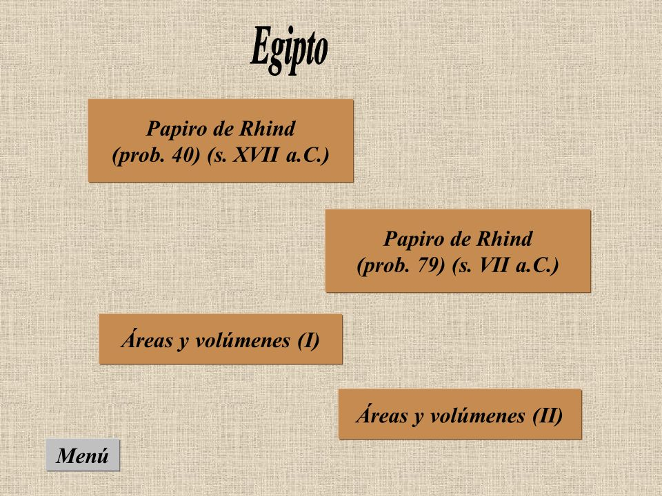 Papiro de Rhind (prob.40) (s. XVII a.C.) Papiro de Rhind (prob.