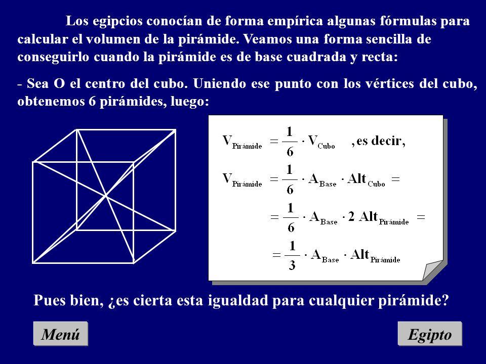 MenúEgipto Los egipcios conocían de forma empírica algunas fórmulas para calcular el volumen de la pirámide.