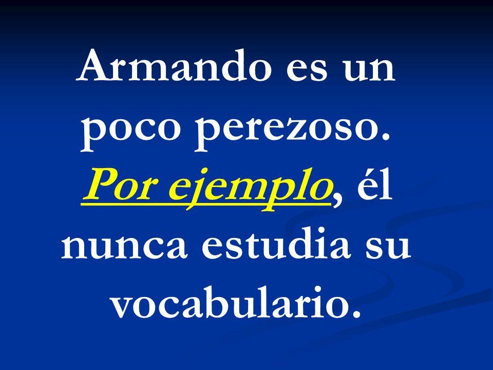 Armando es un poco perezoso. Por ejemplo, él nunca estudia su vocabulario.