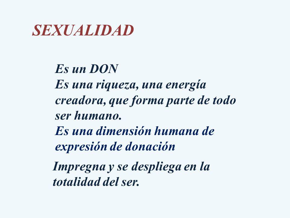 SEXUALIDAD Es un DON Es una riqueza, una energía creadora, que forma parte de todo ser humano. Es una dimensión humana de expresión de donación Impreg
