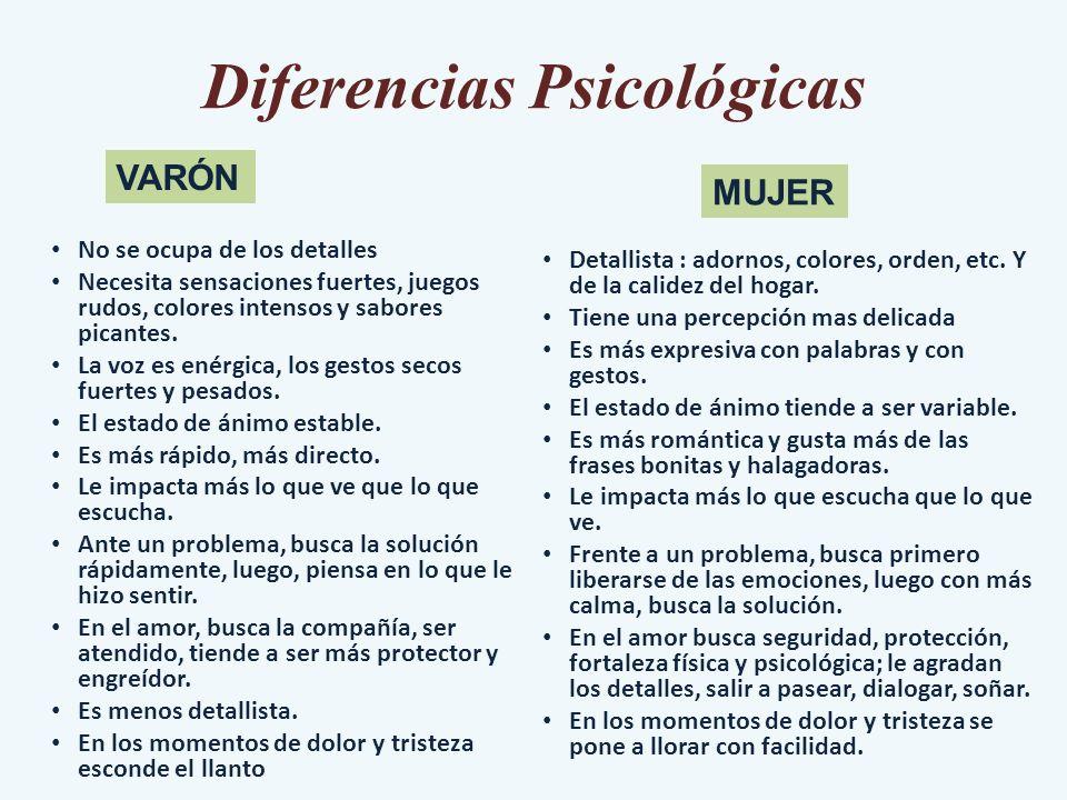 Diferencias Psicológicas No se ocupa de los detalles Necesita sensaciones fuertes, juegos rudos, colores intensos y sabores picantes. La voz es enérgi
