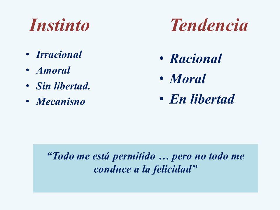 InstintoTendencia Irracional Amoral Sin libertad. Mecanisno Racional Moral En libertad Todo me está permitido … pero no todo me conduce a la felicidad
