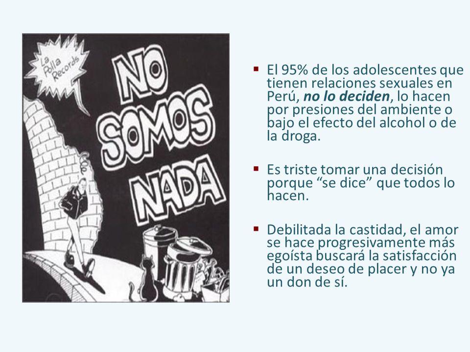 El 95% de los adolescentes que tienen relaciones sexuales en Perú, no lo deciden, lo hacen por presiones del ambiente o bajo el efecto del alcohol o d