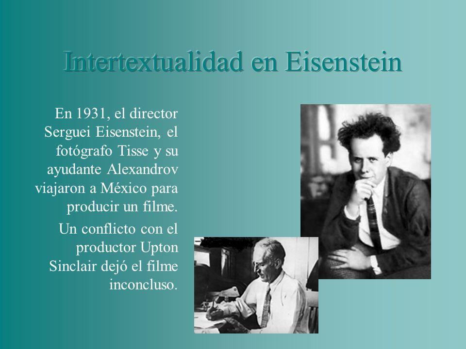 Eisenstein analizó quince años más tarde una imagen del filme, donde Sebastián, un peón mexicano, prepara un toro lleno de cohetes, para utilizarlo durante la fiesta de su boda.