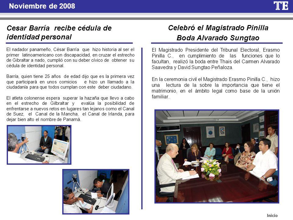 Inicio Noviembre de 2008 Cesar Barría recibe cédula de identidad personal El nadador panameño, César Barría que hizo historia al ser el primer latinoa