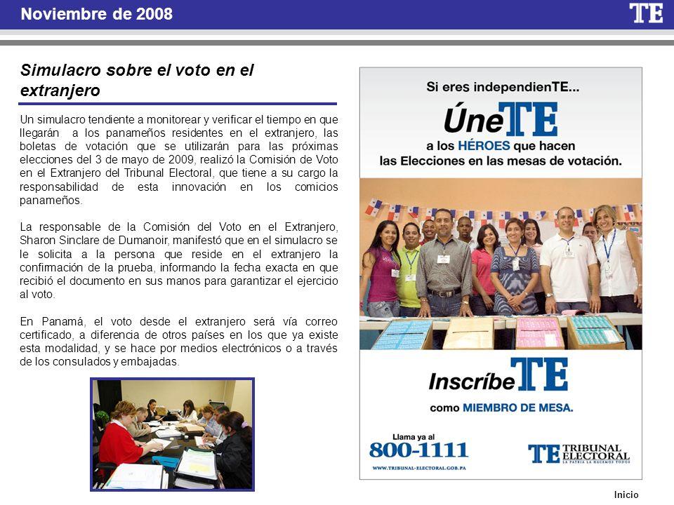 Inicio Noviembre de 2008 Un simulacro tendiente a monitorear y verificar el tiempo en que llegarán a los panameños residentes en el extranjero, las bo