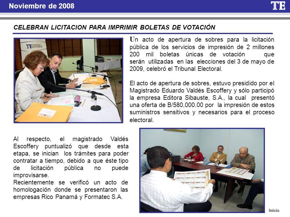 Noviembre de 2008 CELEBRAN LICITACION PARA IMPRIMIR BOLETAS DE VOTACIÓN U n acto de apertura de sobres para la licitación pública de los servicios de