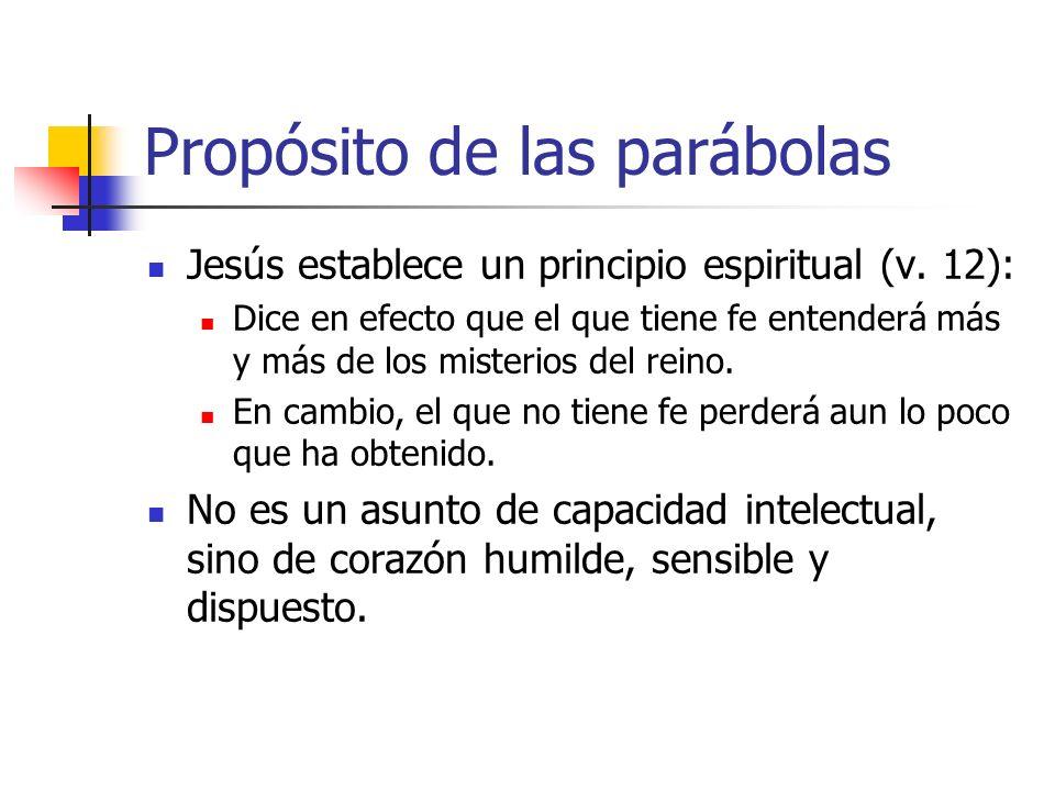 Propósito de las parábolas Jesús establece un principio espiritual (v. 12): Dice en efecto que el que tiene fe entenderá más y más de los misterios de