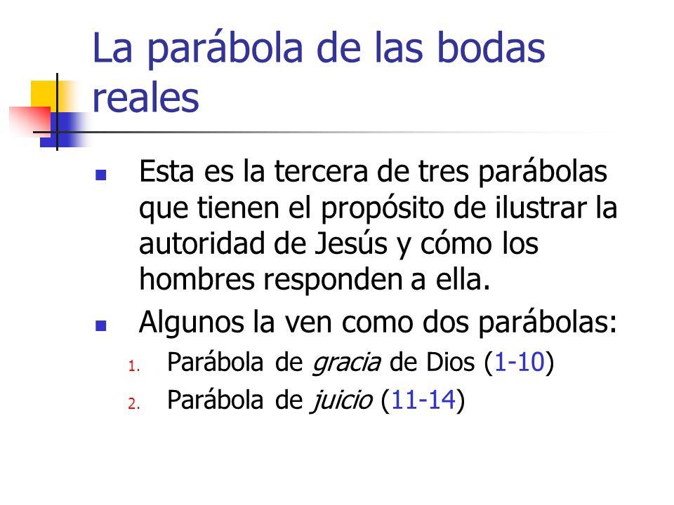 La parábola de las bodas reales Esta es la tercera de tres parábolas que tienen el propósito de ilustrar la autoridad de Jesús y cómo los hombres resp