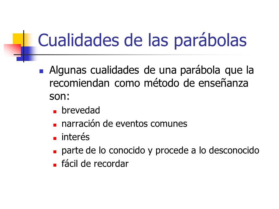 Cualidades de las parábolas Algunas cualidades de una parábola que la recomiendan como método de enseñanza son: brevedad narración de eventos comunes