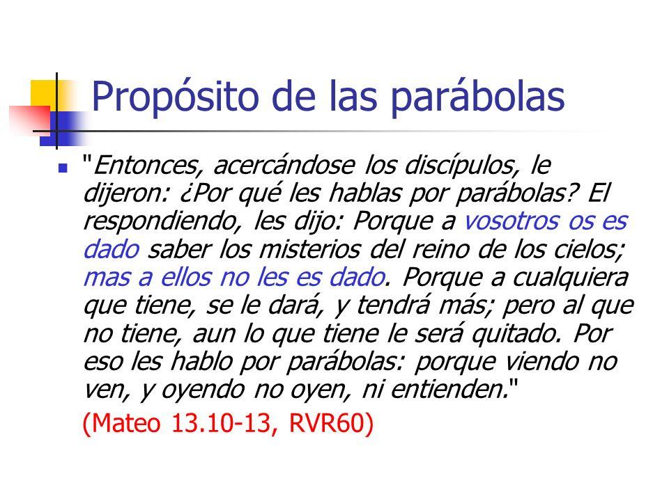 Propósito de las parábolas De manera que se cumple en ellos la profecía de Isaías, que dijo: De oído oiréis, y no entenderéis; Y viendo veréis, y no percibiréis.