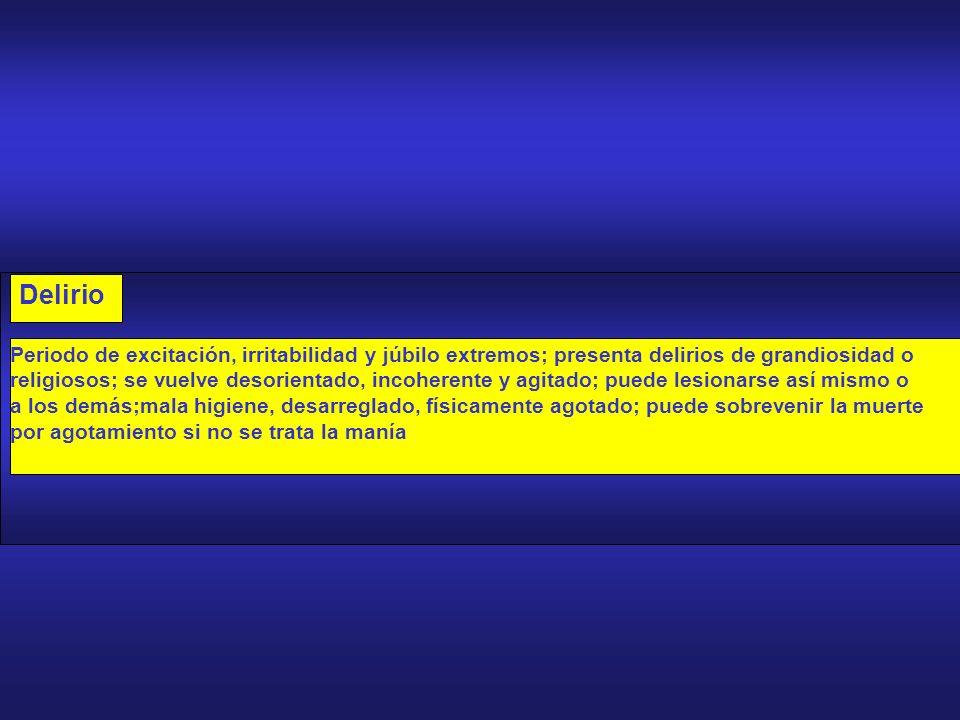 -B- MANIA Delirio Manía Hipomanía EXALTACION EMOCIONAL