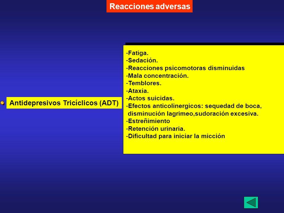 -6- Tratamiento -a- Farmacológico -Depresión- Antidepresivos -Amitriptilina. -Amoxapina. -Doxepina. -Imipramina -notriptilina Reacciones adversas -Iso